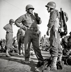 Soldiers of the 82nd Airborne waiting near Sicilian beachheads  before the invasion of mainland Italy, 1943