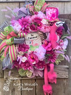 KimsWreathBoutique on Etsy Flamingo Party, Flamingo Decor, Easter Wreaths, Christmas Wreaths, Mesh Wreaths, 40th Birthday Gifts, Fifty Birthday, Birthday Crafts, Watermelon Decor