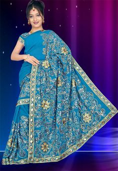 New Bollywood Partywear Sequin Embroidery Saree Sari BellyDance Costume Fabric | eBay