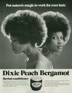 Analysis: When it comes to representations of black women, Jasmine Chorley argues that the modelling industry in 2015 looks a lot like it did in 1955. (Advertisement forDixie Peach Bergamot Herbal Conditioner published in Ebony magazine, July 1971, Vol. 26 No. 9)