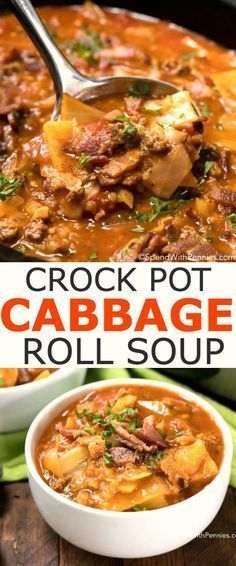 Crock Pot Cabbage Roll Soup is a simple twist on traditional Cabbage Rolls, a family favorite for years! Cabbage, onion, beef and bacon all tenderly prepared in a rich beef and tomato broth, slowly simmered in your crock pot. This creates a tasty soup tha Crock Pot Slow Cooker, Crock Pot Cooking, Slow Cooker Recipes, Cooking Recipes, Cooking Ribs, Lunch Recipes, Healthy Recipes, Crockpot Cabbage Roll Soup, Crock Pot Cabbage