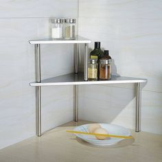 Shelf For Kitchen Corner 2 Tier Bathroom Organizer Countertop Storage Rack New for sale online - Modern Corner Storage Shelves, Shelving Racks, Kitchen Shelves, Kitchen Storage, Storage Rack, Glass Shelves, Wall Shelves, Corner Rack, Rack Shelf
