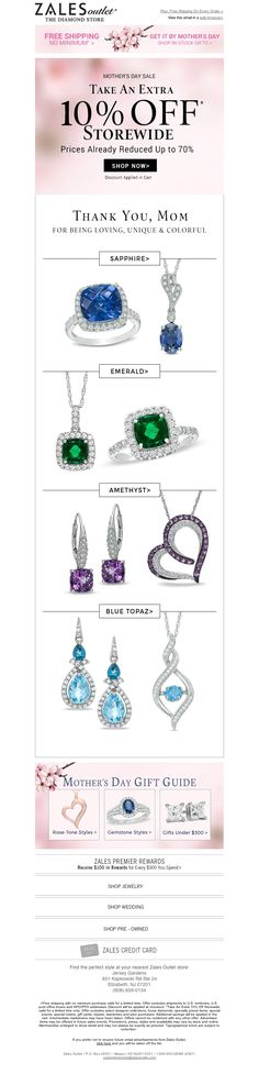 Example of ZALES OUTLET Mother's Day Promotions, calling attention to variety of gemstones