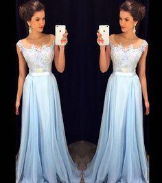 Blue Applique Prom Dress,Charming Bodice Prom Dress,Custom Made Evening Dress,Cute prom dress