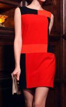 #SheInside Red Contrast Geo Panel Sleeveless Zip Back Dress $74.88