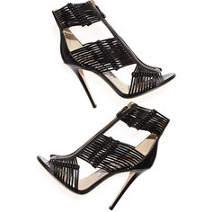Jimmy Choo Katie Strappy Zip-Front Sandal, Black found on Polyvore