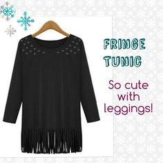 HOST PICKWomen's Fringe Tunic w/Grommet Detail This is as comfortable as it is cute and trendy! I ❤️ this tunic! You will find so many ways to wear this:  with a scarf, jewelry, leggings, skinny jeans, boots, etc.  comfy poly cotton blend with a little stretch, 3/4 sleeves, scoop neck. Antique gold grommets on army green color and antique silver on black around the front neck area.  Boho chic!  I have Black and Army Green in M, L & XL.  Fits True to Size. Let me know what size/color you want…