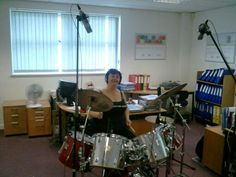 Jacko recording drum tracks on the aithers demo cd