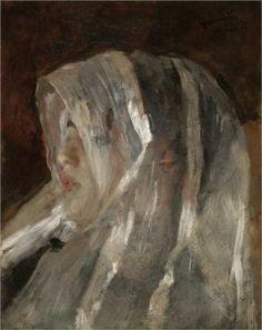 Girl with a White Veil  - Antonio Mancini