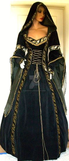 Medieval dress Adela by Azinovic on DeviantArt Medieval Fashion, Medieval Clothing, Historical Clothing, Medieval Costume, Medieval Dress, Renaissance Gown, Beautiful Gowns, Beautiful Outfits, Pretty Outfits
