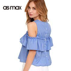 Asmax Sólido Azul Dulce Volantes Blusa de Las Mujeres Breasted Cold Shoulder Camiseta Top de Verano Delgado Ocasional Atractivo Lindo Mujer Blusa