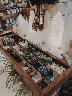 Someday I'll go to store like this and fill my house with crystals and gems Crystal Shop, Crystal Magic, Crystal Grid, Crystal Altar, Crystals And Gemstones, Stones And Crystals, Healing Crystals, Chakra Crystals, Wicca Crystals