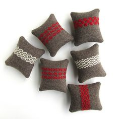 Handwoven Wool Pincushions by BooDilly's, via Flickr
