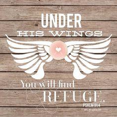 Under his wings...