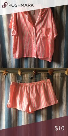 Super cute forever 21 pj set! Neon orange/pink striped pj set. In good condition! Soft and silky material. Please feel free to make an offer if you are interested! Forever 21 Intimates & Sleepwear Pajamas