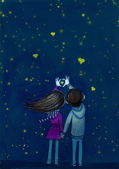 stars hearts - Race Tutorial and Ideas Cute Couple Drawings, Cute Couple Art, Love Drawings, Cute Love Wallpapers, Cute Couple Wallpaper, Art Anime Fille, Anime Art Girl, Art Amour, Animated Love Images
