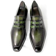 BERLUTI Andy 10 50th Anniversary Nero Green Crocodile & Venezia Leather Loafers