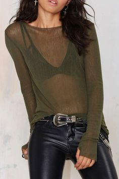 Sheer, Army Green, Scoop-Neck T-Shirt.