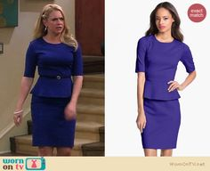 Melissa's purple/blue peplum dress on Melissa and Joey.  Outfit details: http://wornontv.net/17438/