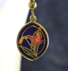"Vintage Cloisonné Enamel Tulip Flower Earrings Delicate Costume Jewelry 1.5"" #Unknown #DropDangle"