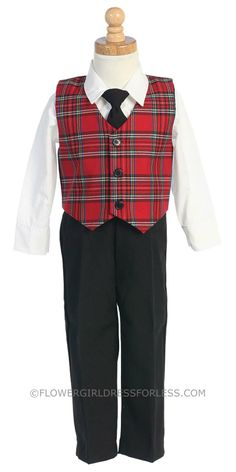 Holiday Boys Set Style C565 - Plaid Vest with Pants $37.95