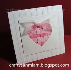 complete handmade Valentine with paper weaving in the background of the negative cut heart Valentine Love Cards, Valentine Crafts, Valentine Stuff, Valentine Decorations, Cool Cards, Diy Cards, Handmade Cards, Paper Weaving, Heart Cards