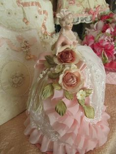 Porcelain Made In China Key: 7207869689 Ribbon Art, Ribbon Crafts, Antique Dolls, Vintage Dolls, Boudoir, Half Dolls, Powder Puff, Vintage Chandelier, Sewing Accessories