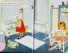 Absolutely must find one of these classics for my 3 year old granddaughter before her new sister arrives in February! from Baby Dear, illustrated by Eloise Wilkin (1962).  A Little Golden Book.