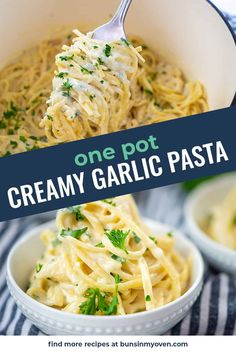 One pot and 20 minutes to make this creamy garlic pasta! Easy Dinner Recipes, Pasta Recipes, Easy Meals, Creamy Garlic Pasta, Pasta Dinners, One Pot Pasta, Perfect Food, One Pot Meals, Food For Thought