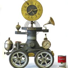 Whimsical Clock on Wheels - 21 inch tall Time Piece - 6063 by Klockwerks