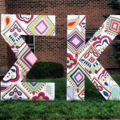 lawn letters myself and another sister painted! Sigma Kappa, Alpha Sigma Alpha, Theta, Sorority Sugar, Sorority Life, Phi Mu, Chi Omega, Greek Life, Wooden Letters