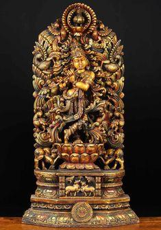 "View the Wood Kodi Peacock Krishna Statue 48"""