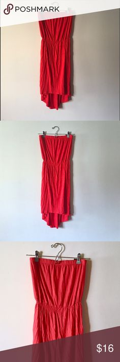 🎀 SO CUTE • Red tube top high low summer dress * * * ALWAYS  * F R E E * SHIPPING * * * • • ASK TO • B U N D L E • AND SAVE  • •   Beautiful bright reddish/burnt orange high low tube top dress from Forever 21  • excellent condition, only worn 2-3 times  • comes to my knee, maybe a little longer • material has stretch to it so it's not overly tight  • perfect and. right for summer! • Size: SMALL   #red #orange #tubetop #strapless #summer #dress #comfortable  #highlow #casual #beautiful…