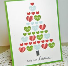 Holly Jolly Christmas Handmade Card by justdandystudio on Etsy, $1.00