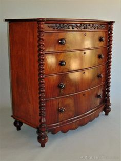 ~ Impressive Victorian Mahogany Barley Twist Chest of Drawers ~ antiques-atlas.com