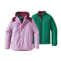 Layering of outerwear makes a hut trip much more comfortable. Here's a three-in-one jacket - girls.
