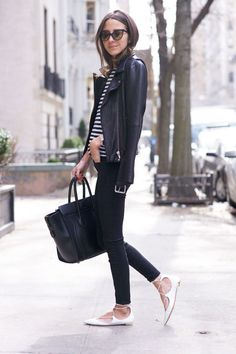Black & white outfit (leather jacket and lace up flats)