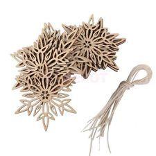 10x Shabby Wood Twig Snowflake Nordic Christmas Tree Decorations Room Hanger