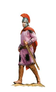 Roman soldier of the Auxilia Palatina unit, 4th-5th centuries AD. Artwork by Tom Croft.