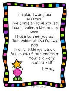 Image result for goodbye letter to teacher from kindergarten