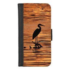 Heron Bird at Sunset iPhone 8/7 Wallet Case - animal gift ideas animals and pets diy customize