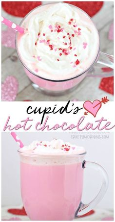 Make this fun pink cupid's hot chocolate for a valentines day drink! Fun valentines day dessert treat idea for the kids. Make this fun pink cupid's hot chocolate for a valentines day drink! Fun valentines day dessert treat idea for the kids. Valentine Desserts, Valentines Day Food, Valentine Treats, Holiday Treats, Holiday Recipes, Valentines Breakfast, Pink Desserts, Valentines Recipes, Valentines Day Chocolates