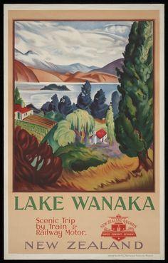 Lake Wanaka ~ scenic trip by train & railway motor. New Zealand. New Zealand Railways Publicity Branch. Vintage Travel Posters, Vintage Postcards, Posters Australia, Pub Vintage, Lake Wanaka, Tourism Poster, Railway Posters, Train Posters, New Zealand Travel