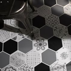 Add a new dimension to your interior designs with this showstopping range of multifaceted beauties. These complex, hexagonal tiles add character and offer a huge range of decorative possibilities. Wall And Floor Tiles, Wall Tiles, Flooring Tiles, Floor Design, Tile Design, Hexagone Tile, Home Renovation, Home Remodeling, Patchwork Tiles