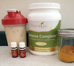 Healthy Tumeric Shake with Young Living essential oils and Balance Complete! Use almond milk, one drop of ginger and nutmeg, 1/2 tsp. tumeric, and one scoop of Balance Complete! Shake it all up with ice. Blog post: http://yldist.com/bethanne/?p=871