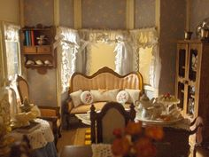 Dollhouse miniature parlor. Every little girl needs a cool dollhouse!