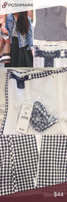 🆕WHBM Gingham top New with tags; never worn. Perfect for layering during the fall/winter, and lovely for summer time with your favorite pair of sunnies and white pants. Optional straps included. Has boning so it fits to form and has rubber so it stays put on the chest. Unzips all the way down. Side vents & is a cotton/spandex blend. Cover photo is for styling purposes only & belongs to extrapetite.com. Size 0.  ✅reasonable offers ❌trades 💬ask questions 🛍bundle to save 👇🏼offer button…