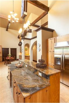 Ranch for sale. Kitchen with Marble Island. Completely decorated and furnished to have the New Mexican Aesthetic, Spanish flare