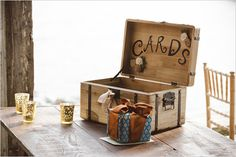wooden box for cards. Look for reclaimed wooden crates first