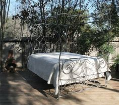 The canopy Web, The iron lovers bed- Gothic, Gothic, Gothic This bed ships with the headboard, footboard, 2 pc. canopy rails,. side rails and 3 center floor supports. Jeff Dunham has been making iron furniture since 1990, and offers The finest in design ,fabrication, detailing and craftsmanship I have created custom iron works for: Sylvester Stallone, Pink, Eddie Van Halen, Ozzy Osborn, Mia Peoples, and Tony Tedesco. My creations range from iron staircases, dinning tables and chairs, to…